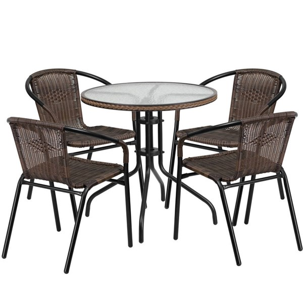 Flash Furniture 28 Inch Round Table with Dark Brown Rattan Edging and 4 Chairs FLF-TLH-087RD-037BN4-GG