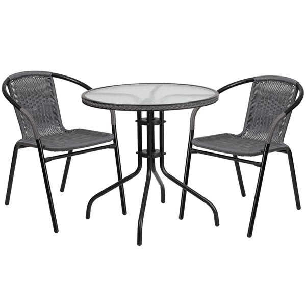 Flash Furniture Gray Rattan 28 Round 3pc Outdoor Dining Sets FLF-TLH-087RD-037GY2-GG