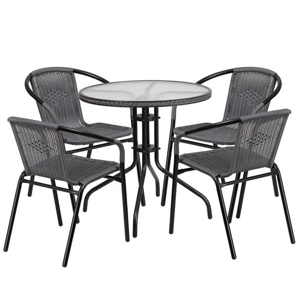 Flash Furniture Gray Rattan 28 Round 5pc Outdoor Dining Sets FLF-TLH-087RD-037GY4-GG