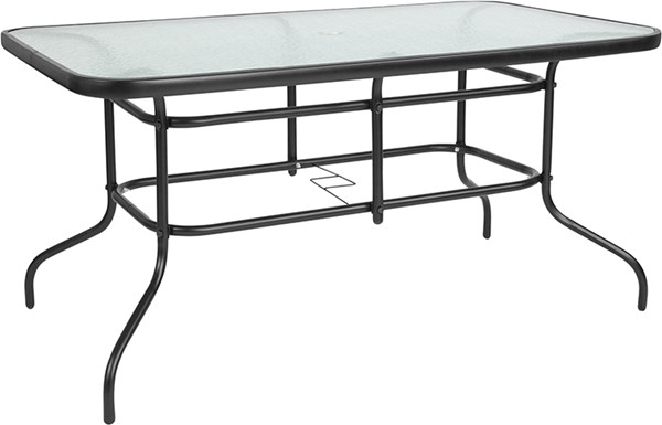Flash Furniture Black Frame Glass Metal Table FLF-TLH-089-GG