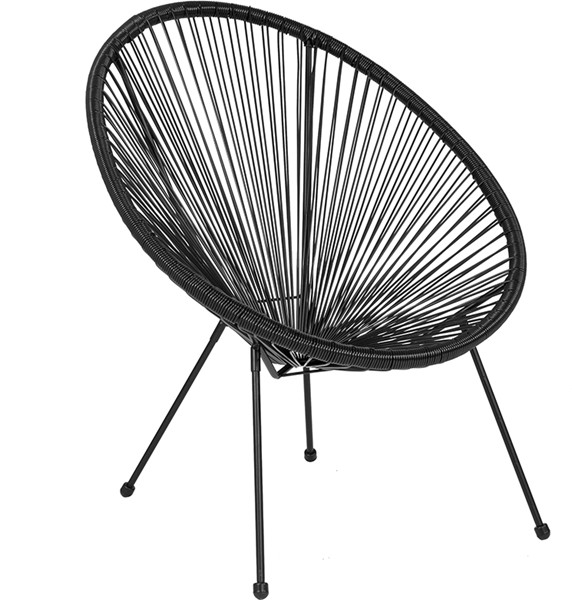 Flash Furniture Valencia Black Bungee Oval Lounge Chair FLF-TLH-094-BLACK-GG