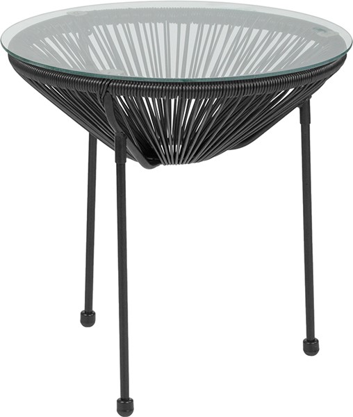 Flash Furniture Valencia Black Bungee Glass Indoor Outdoor Table FLF-TLH-094T-BLACK-GG