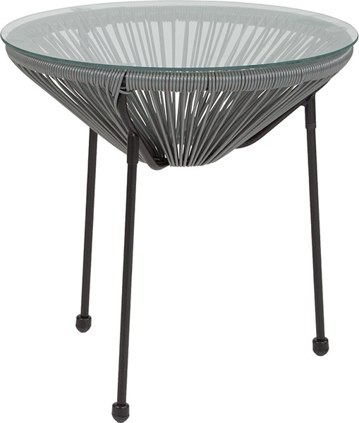 Flash Furniture Valencia Grey Bungee Glass Indoor Outdoor Table FLF-TLH-094T-GREY-GG