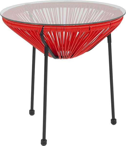 Flash Furniture Valencia Red Bungee Glass Indoor Outdoor Table FLF-TLH-094T-RED-GG