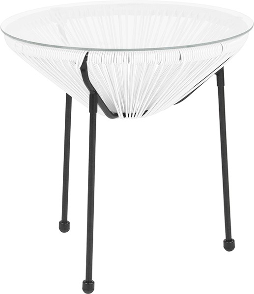 Flash Furniture Valencia White Bungee Glass Indoor Outdoor Table FLF-TLH-094T-WHITE-GG