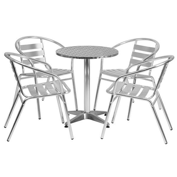 Flash Furniture Aluminum Round 5pc Outdoor Dining Sets FLF-TLH-ALUM-24RD-017BCHR4-GG