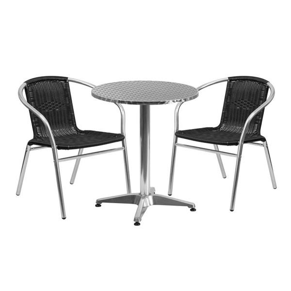 Flash Furniture 23.5 Inch Round Indoor Outdoor Table Set with 2 Black Chairs FLF-TLH-ALUM-24RD-020BKCHR2-GG