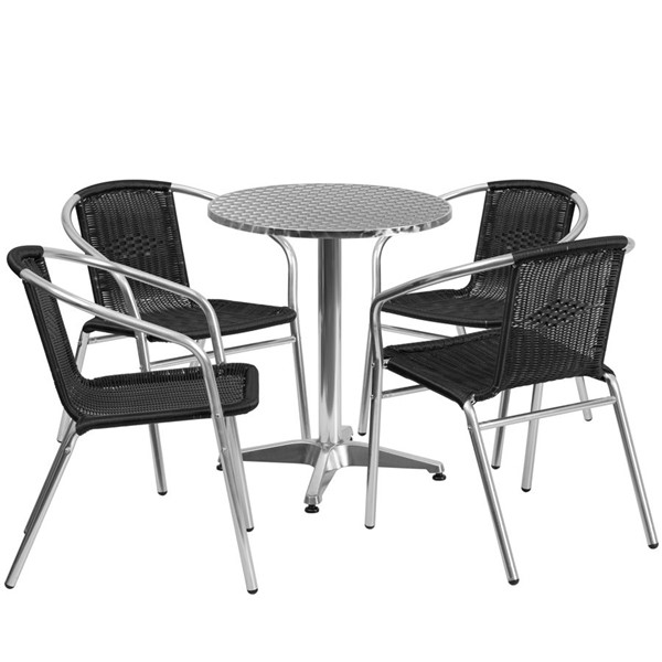 Flash Furniture 23.5 Inch Round Indoor Outdoor Table Set with 4 Black Chairs FLF-TLH-ALUM-24RD-020BKCHR4-GG