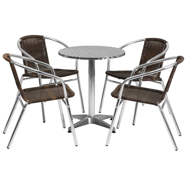 23.5 Inch Round Aluminum Indoor-Outdoor Table With 4 Rattan Chairs FLF-TLH-ALUM-24RD-020CHR4-GG-DR-S4
