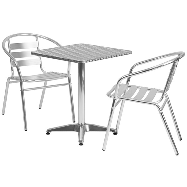 23.5 Inch Square Aluminum Indoor-Outdoor Table With 2 Slat Back Chairs FLF-TLH-ALUM-24SQ-017BCHR2-GG-DR-S1