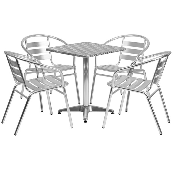 23.5 Inch Square Aluminum Indoor-Outdoor Table With 4 Slat Back Chairs FLF-TLH-ALUM-24SQ-017BCHR4-GG-DR-S3