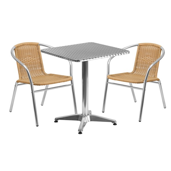 Flash Furniture Square 3pc Outdoor Dining Sets FLF-TLHALUM24SQ-GG-OUT-DR-V