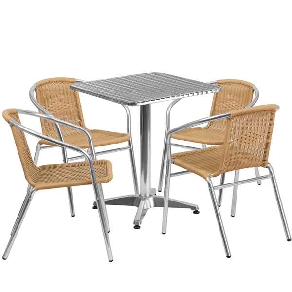 Flash Furniture Square 5pc Outdoor Dining Sets FLF-TLH-ALUM-24SQ-GG-OUT-DR-VAR1