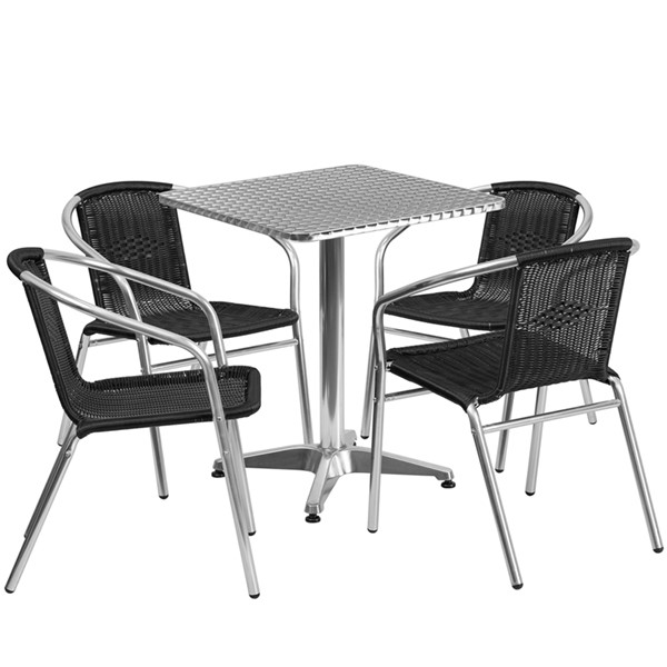 Flash Furniture Black Square Contemporary 5pc Outdoor Dining Set FLF-TLH-ALUM-24SQ-020BKCHR4-GG