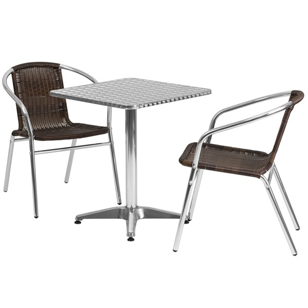 23.5 Inch Square Aluminum Indoor-Outdoor Table With 2 Rattan Chairs FLF-TLH-ALUM-24SQ-020CHR2-GG-DR-S2