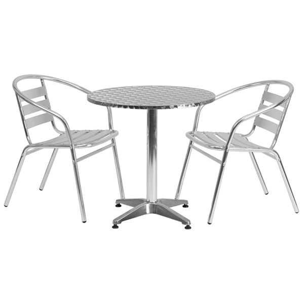 27.5 Inch Round Aluminum Indoor-Outdoor Table With 2 Slat Back Chairs FLF-TLH-ALUM-28RD-017BCHR2-GG-DR-S1