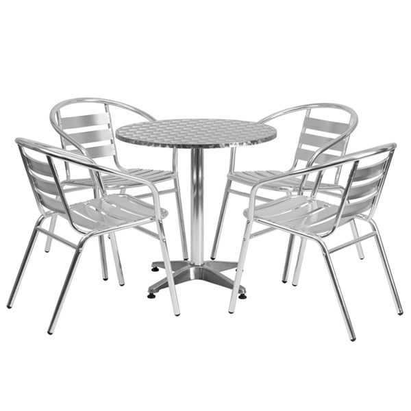 27.5 Inch Round Aluminum Indoor-Outdoor Table With 4 Slat Back Chairs FLF-TLH-ALUM-28RD-017BCHR4-GG-DR-S3