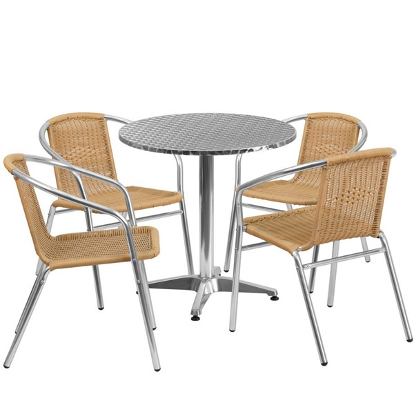 Flash Furniture 27.5 Inch Round Indoor Outdoor Table Set with 4 Beige Chairs FLF-TLH-ALUM-28RD-020BGECHR4-GG