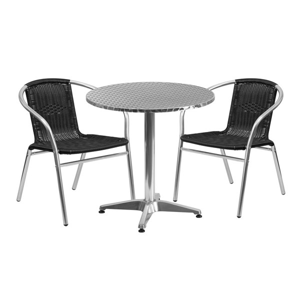 Flash Furniture 27.5 Inch Round Indoor Outdoor Table Set with 2 Black Chairs FLF-TLH-ALUM-28RD-020BKCHR2-GG