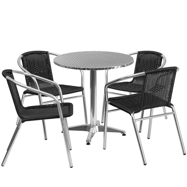 Flash Furniture 27.5 Inch Round Indoor Outdoor Table Set with 4 Black Chairs FLF-TLH-ALUM-28RD-020BKCHR4-GG