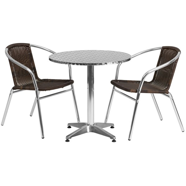 27.5 Inch Round Aluminum Indoor-Outdoor Table With 2 Rattan Chairs FLF-TLH-ALUM-28RD-020CHR2-GG-DR-S2
