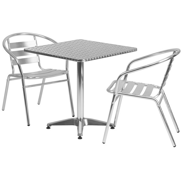 27.5 Inch Square Aluminum Indoor-Outdoor Table With 2 Slat Back Chairs FLF-TLH-ALUM-28SQ-017BCHR2-GG-DR-S1