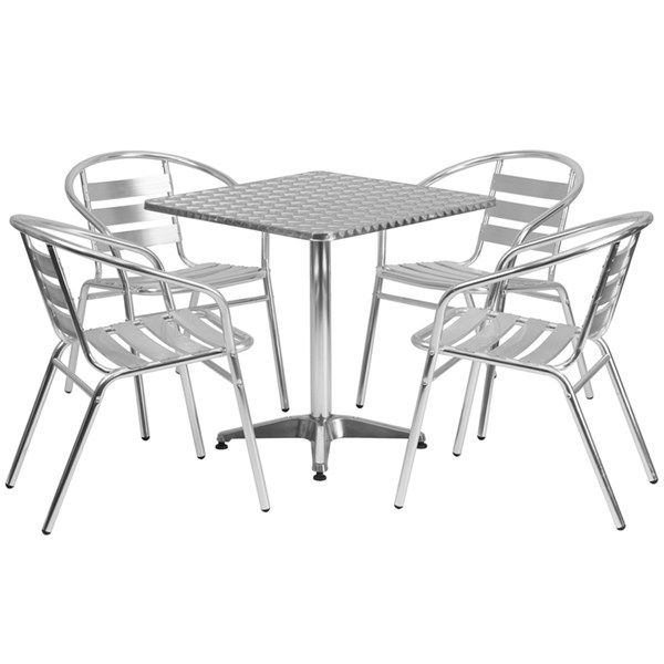 27.5 Inch Square Aluminum Indoor-Outdoor Table With 4 Slat Back Chairs FLF-TLH-ALUM-28SQ-017BCHR4-GG-DR-S3