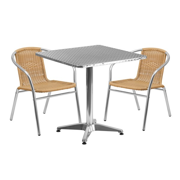 Flash Furniture Square 3pc Outdoor Dining Set FLF-TLHALUM28SQ-GGOUTDRVAR1