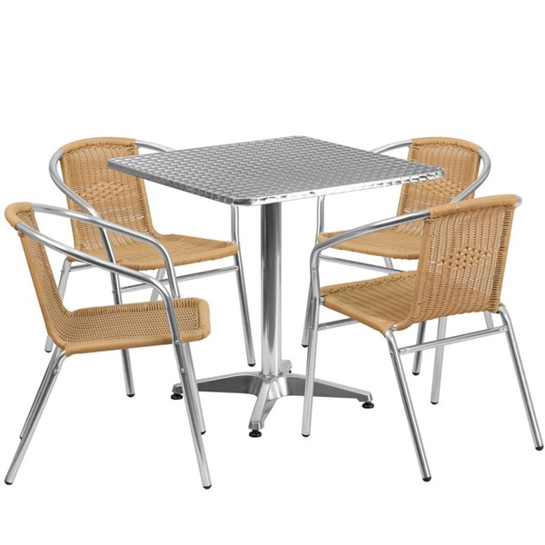 Flash Furniture Beige Square 5pc Outdoor Dining Set FLF-TLH-ALUM-28SQ-020BGECHR4-GG