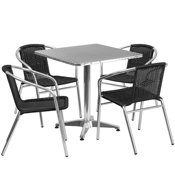Flash Furniture Black Square 5pc Outdoor Dining Set FLF-TLH-ALUM-28SQ-020BKCHR4-GG