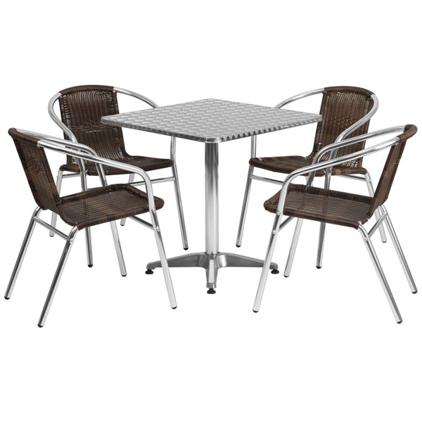 Flash Furniture Dark Brown Square 5pc Outdoor Dining Set FLF-TLH-ALUM-28SQ-020CHR4-GG