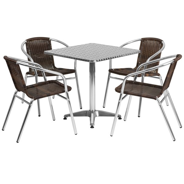 27.5 Inch Square Aluminum Indoor-Outdoor Table With 4 Rattan Chairs FLF-TLH-ALUM-28SQ-020CHR4-GG-DR-S4