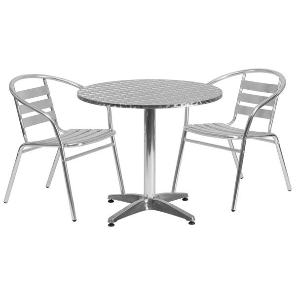31.5 Inch Round Aluminum Indoor-Outdoor Table W/Slat Back Chairs FLF-TLH-ALUM-32RD-017BCHR-020CHR-GG-DR