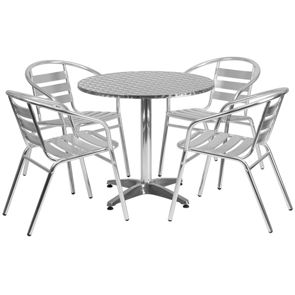 31.5 Inch Round Aluminum Indoor-Outdoor Table With 4 Slat Back Chairs FLF-TLH-ALUM-32RD-017BCHR4-GG-DR-S3