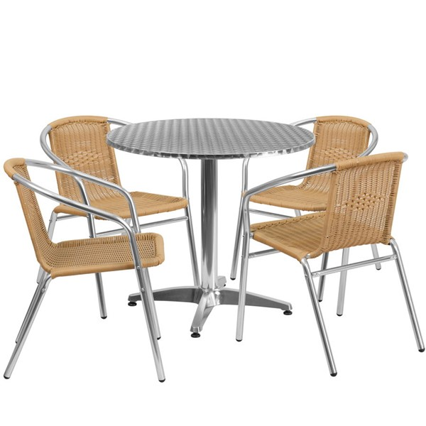 Flash Furniture 31.5 Inch Round Indoor Outdoor Table Set with 4 Beige Chairs FLF-TLHALUM32RD-020BGECHR4-GG