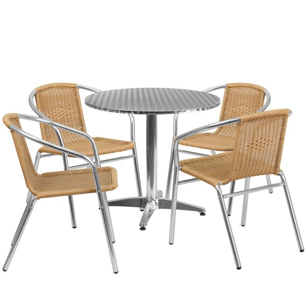 Flash Furniture 31.5 Inch Round Indoor Outdoor Table Set with 4 Beige Chairs FLF-TLH-ALUM-32RD-020BGECHR4-GG