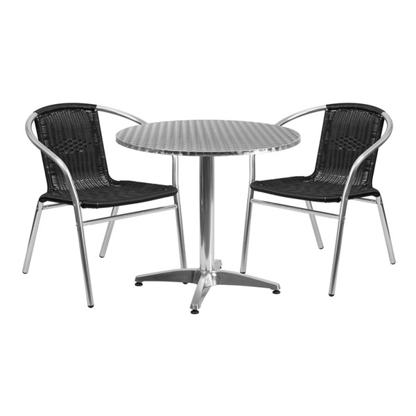 Flash Furniture 31.5 Inch Round Indoor Outdoor Table Set with 2 Black Chairs FLF-TLH-ALUM-32RD-020BKCHR2-GG