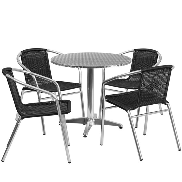 Flash Furniture 31.5 Inch Round Indoor Outdoor Table Set with 4 Black Chairs FLF-TLH-ALUM-32RD-020BKCHR4-GG
