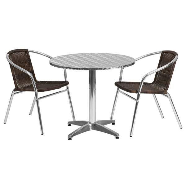 31.5 Inch Round Aluminum Indoor-Outdoor Table With 2 Rattan Chairs FLF-TLH-ALUM-32RD-020CHR2-GG-DR-S2