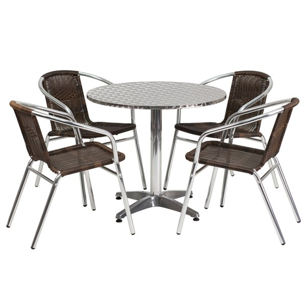 31.5 Inch Round Aluminum Indoor-Outdoor Table With 4 Rattan Chairs FLF-TLH-ALUM-32RD-020CHR4-GG-DR-S4