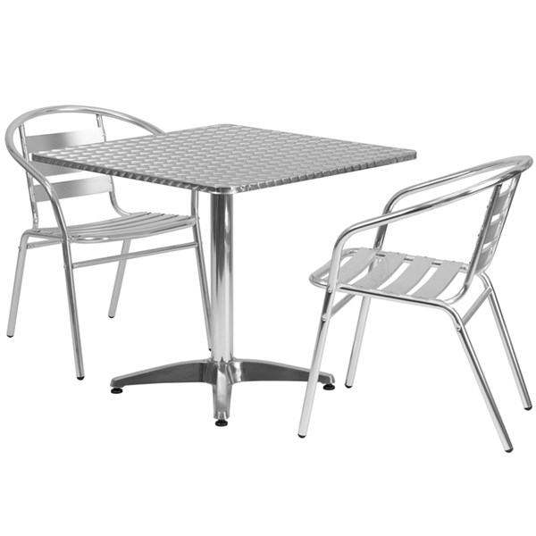 31.5 Inch Square Aluminum Indoor-Outdoor Table W/Slat Back Chairs FLF-TLH-ALUM-32SQ-017BCHR-020CHR-GG-DR