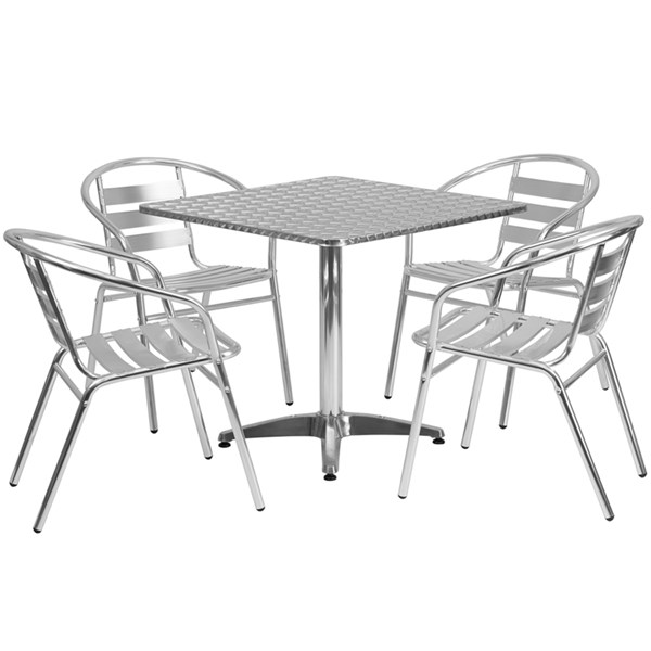 31.5 Inch Square Aluminum Indoor-Outdoor Table W/ 4 Slat Back Chairs FLF-TLH-ALUM-32SQ-017BCHR4-GG-DR-S3