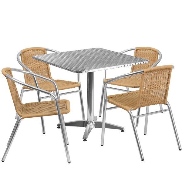 Flash Furniture 31.5 Inch Square Indoor Outdoor Table Set with 4 Beige Chairs FLF-TLH-ALUM-32SQ-020BGECHR4-GG