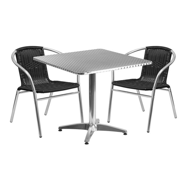 Flash Furniture 31.5 Inch Square Indoor Outdoor Table Set with 2 Black Chairs FLF-TLH-ALUM-32SQ-020BKCHR2-GG