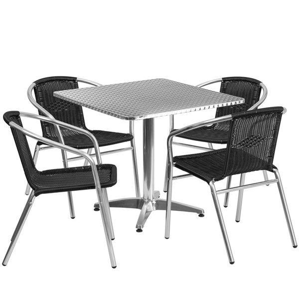 Flash Furniture 31.5 Inch Square Indoor Outdoor Table Set with 4 Black Chairs FLF-TLH-ALUM-32SQ-020BKCHR4-GG