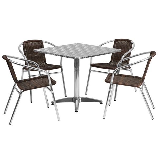 31.5 Inch Square Aluminum Indoor-Outdoor Table W/4 Rattan Chairs FLF-TLH-ALUM-32SQ-020CHR4-GG-DR-S4