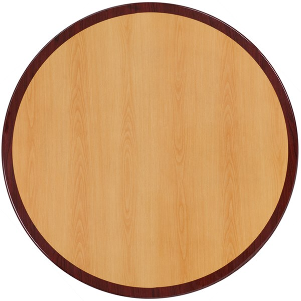 Flash Furniture 48 Inch Round Two-Tone Resin Cherry and Mahogany Table Top FLF-TP-2TONE-48RD-GG