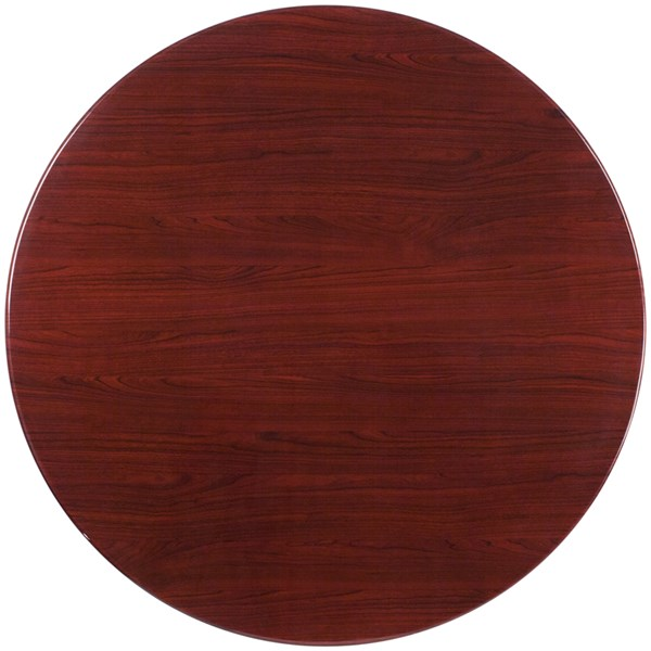 Mahogany Resin 48 Inch Round Resin Table Top FLF-TP-MAH-48RD-GG
