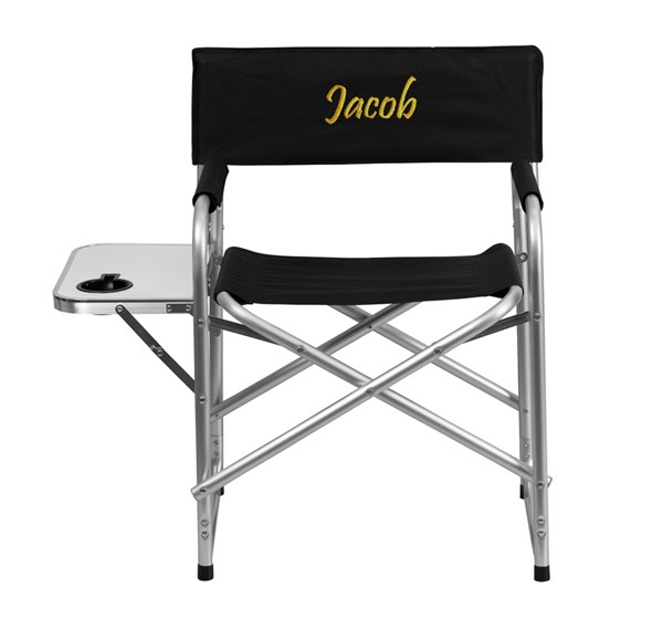 Personalized Aluminum Folding Black Camping Chair w/Table & Holder FLF-TY1104-BK-TXTEMB-GG