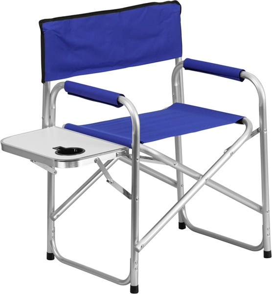 Aluminum Folding Blue Camping Chair with Table and Drink Holder FLF-TY1104-BL-GG